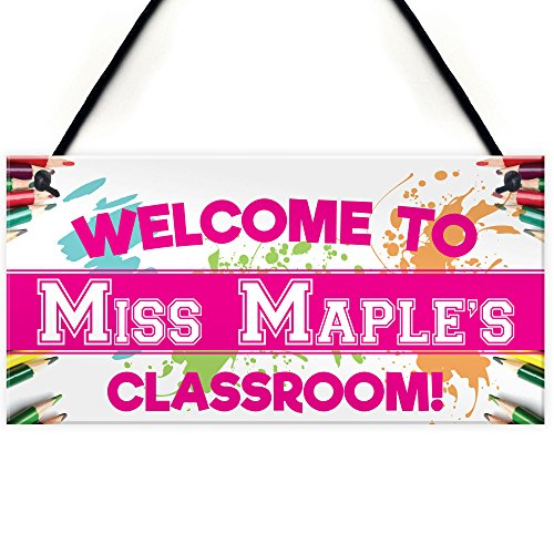 RED OCEAN Personalised Welcome To Classroom Decoration Cute Pink Hanging...