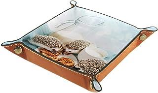 BestIdeas Panier de rangement carré 16 × 16 cm, avec petits hérissons ayant le petit déjeuner, boîte de rangement sur tabl...