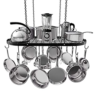VDOMUS Pot Rack Ceiling Mount Cookware Rack Hanging Hanger Organizer with Hooks from