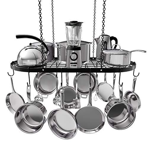 Vdomus pot rack ceiling mount cookware rack hanging hanger organizer with hooks 33 x 17 Inch