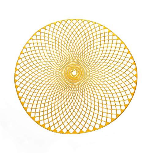 KACTZDZ - Juego de 6 manteles individuales de PVC con estampado en espiral (aislamiento antideslizante, 38 cm), plastico, dorado, 38 cm