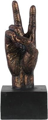 Urban Trends Fiberstone Hand Sculpture in Peace Hand Gesture, Tarnished Bronze