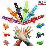 Slap bracciali per Bambini, Bracciale Anello e Schiaffo Dinosauro 6 Colori, Regalo Decorazione del Partito, Bracciale a Scatto di Compleanno, Giocattoli Dinosauro per Bambini (12 Pezzi)