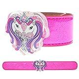FROG SAC Unicorn Slap Bracelet for Kids with Glitter Shaker Charm, Unicorn Charms Glitter Snap Bracelets for Girls, Unicorn Toy Wristbands, Girl Birthday Party Favors, Stocking Stuffers