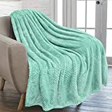 PAVILIA Waffle Textured Fleece Throw Blanket for Couch Sofa, Teal Mint | Soft Plush Velvet Flannel Blanket for Living Room | Fuzzy Lightweight Microfiber Throw for All Seasons, 50 x 60 Inches
