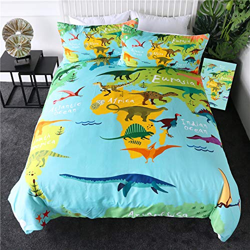 GJQDDP Girls And Boys Duvet Cover, Youth Cute Dinosaur Animal Print Duvet Cover Double Size Super Soft Breathable Duvet Cover with Pillowcase 3 Pieces,Twin