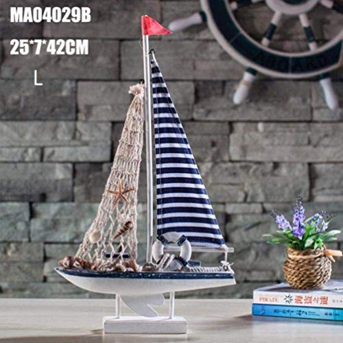 OYQQ Ornaments Statue Bronze Figure American Style Retro Sailing Ship Model Handmade Wood Craft Boat Living Room Home Office Desktop Decoration