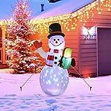 Muñeco de Nieve Inflable de 5 Ft con Luces LED giratorias, iluminación y Ventilador, Papá Noel, iluminación de Navidad, decoración de jardín, Patio, salón, balcón, Exterior
