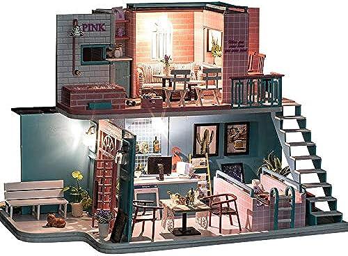 DRAKE18 DIY Villa Modell Holz Miniatur Landschaft mit Licht mit Staubschutz Geburtstag Weißnachten Neujahrsgeschenk