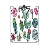 クリップボード A4 自然の装飾 子供の贈り物バインダー サボテンの植物の花のような砂漠の植物のハーブの漫画 A4 タテ型 クリップファイル ワードパッド ファイルバインダー 携帯便利スパイクプリント グリーンとピンク