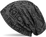 styleBREAKER Beanie Mütze mit Schrift Muster im Destroyed Vintage Design, Slouch Longbeanie, Unisex 04024074, Farbe:Dunkelgrau