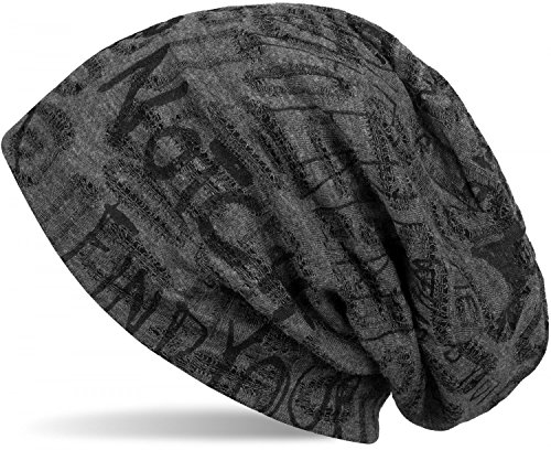 styleBREAKER styleBREAKER Beanie Mütze mit Schrift Muster im Destroyed Vintage Design, Slouch Longbeanie, Unisex 04024074, Farbe:Dunkelgrau