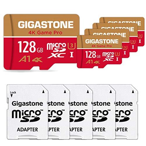 Gigastone Scheda di Memoria Micro SD XC 128GB U3, A1 4K, velocità Fino a 95/40 MB/Sec(R/W) + Adattatore SD. Multipack con 5 Schede. per Telefono, Fotocamere, Videocamera, Tablet, Gopro, Switch