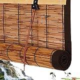 Tende a Rullo di bambù,Tenda a Lamella,Tapparella a Carrucola in Canna,Tapparelle Avvolgibili a Filtro Leggero,Tende Decorative per Porta/Esterni/Interni,Design con Bordi Marroni(140x260cm/55x102in)