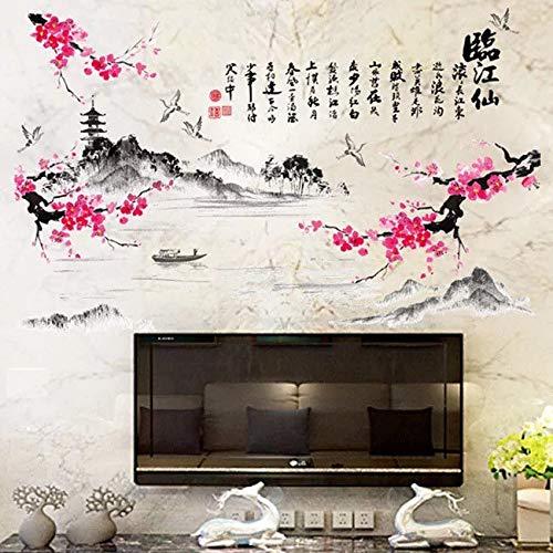 Muursticker Muursticker Bloem Muursticker Vogels Decor Koele Muurdecoratie Natuur Muursticker Chinese Stijl Gedicht