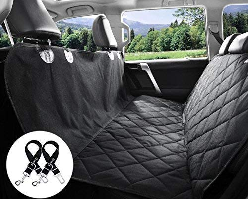 Bonve Pet Dog Seat Cover - Waterproof Pets Car Liner with 2 Adjustable Pet Car Safety Belts Best Dog Hammock Bench Protector for Cars, SUV, Standard