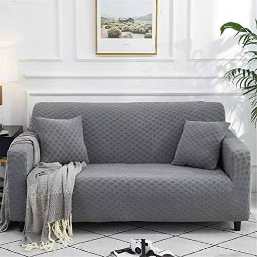 KWOPA Elasticidad Cubierta del Sofá,1-Pieza Sofá De Punto Slipcovers,Lavable Antideslizante Cubierta De Couch Protector De Muebles para La Sala De Estar-Gris. 1 Seater 90-140cm(35-55inch)
