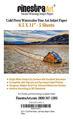 8.5' X 11' Cold Press Watercolor Fine Art Inkjet Paper - 5 Sheets