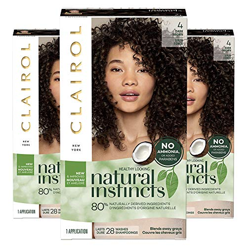 Clairol Natural Instincts Semi-Permanent, 4 Dark Brown, 3 Count