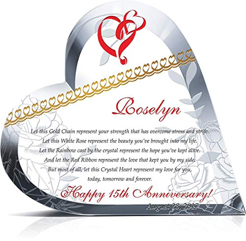 """Personalized Heart Shape Crystal 15th Wedding for Him or for Her, Customized with Love Poem, Couple Name & Anniversary Date, Unique for Wife, for Husband (M - 6.5"""")"""
