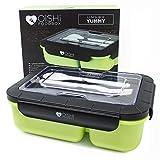 OISHI LUNCHBOX YUMMY - Bento Box 1500ml + Besteck + 3 Fächer - BPA-Frei & auslaufsicher -...