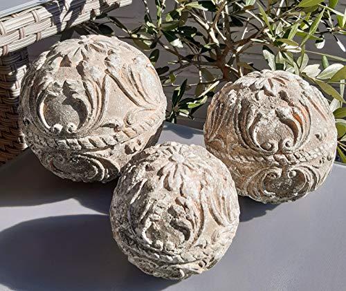 Vintage 3er Set Dekokugel Gartenkugel Rose Blume Kugel Gartendeko Tischdeko Deko für INNEN UND AUSSEN