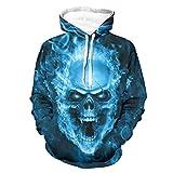 Niersensea Sudadera con capucha para adolescentes, diseño de calavera con fuego azul, impresión 3D, bolsillos grandes, corte ajustado, color blanco, 3XL