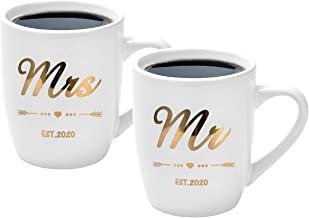 Mr Mrs Couple Coffee Mug Bride Engagement Wedding Bridal Shower Gifts for bride Groom Anniversary Gifts for Couple Ceramic Coffee Mug Cup Set Est 2020 White 12 Ounce