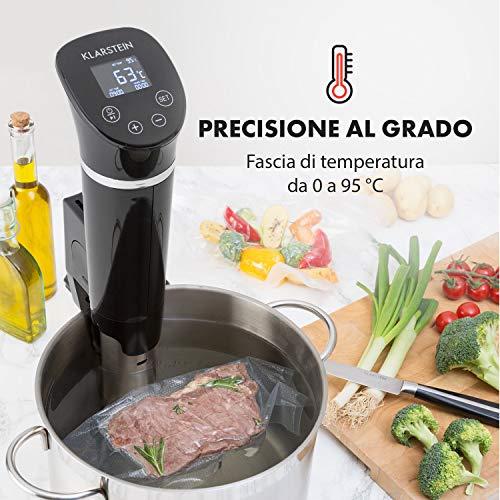 KLARSTEIN Quickstick Flex - Roner, Circolatore ad Immersione, Cottura Sous Vide, Cottura Sottovuoto, 1300 W, Timer, 0-95 ° C, IPX7, Nero