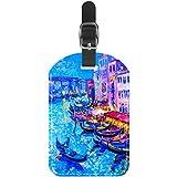 Etiquetas de Equipaje para Pintura de la Ciudad de Venecia de Cuero para Maleta de Viaje, 1 Paquete