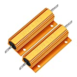uxcell Aluminum Case Resistor 100W 4.7K Ohm Wirewound Yellow for LED Replacement Converter 100W 4.7KRJ 2pcs