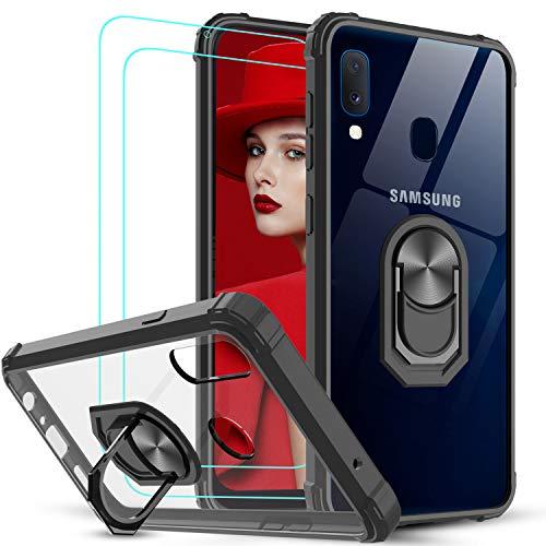 LeYi för Samsung Galaxy A20e fodral och 2 skärmskydd i härdat glas, kristallklar ringhållare militärklassad skyddande stötsäker tunn silikon hård mobiltelefonfodral för Samsung A20e svart