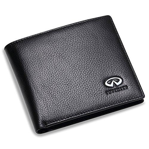 Infiniti Brieftasche aus Leder, mit 3 Kreditkartenfächern und Sichtfenster, Schwarz