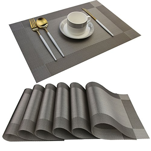 Bright Dream Placemats Washable Easy to Clean Woven Vinyl Placemats for Kitchen Table Heat-resistand Table placemats Mats 12x18 inches Set of 6 (Grey)