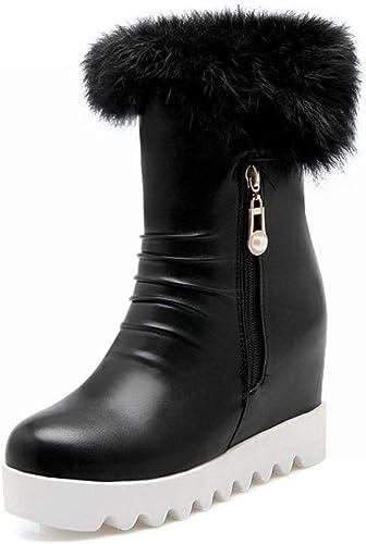 ZHRUI Stiefel para damen - Stiefel Antideslizantes de Invierno cálido Stiefel de algodón con Fondo Plano aumentadas Stiefel Cortas de Cabeza rotonda   34-43 (Farbe   schwarz, tamaño   43)