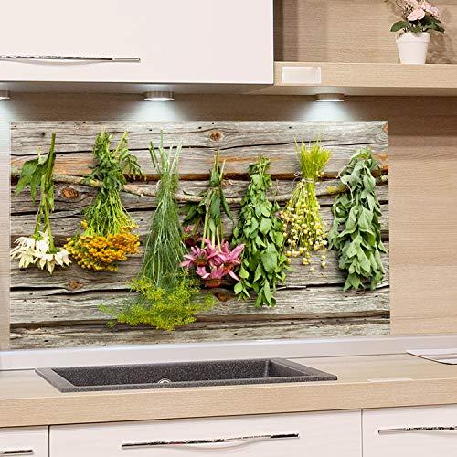 GRAZDesign Küchenrückwand Glas Kräuter Küchenkräuter und Blumen - Spritzschutz Küche Herd - Glasrückwand als Glasbild - Holzoptik Holz / 60x60cm
