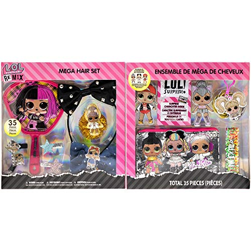 Townley Girl L.O.L. Surprise! Mega Hair Salon Foldable Gift Set with 35 Pieces Including Headbands, Hair Clips, Hair Ties, Hair Clips, Mirror, Hair Ties, Bag and More, Ages 5+, for Parties, Sleepovers and Makeovers