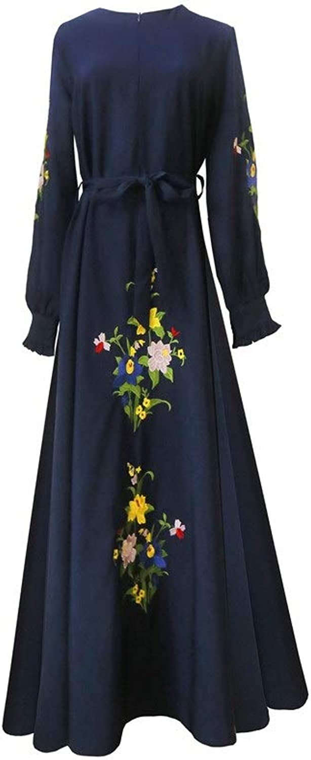 Bridesmaid Dress Women Crew Neck Long Sleeve Embroidered Floral Long Evening Gown Loose Aline Long Maxi Dress with Belt Vintage Cocktail Party Prom Formal Dress (color   Navy bluee, Size   XXL)