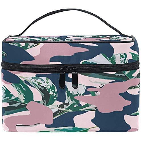Grand sac de maquillage organisateur feuilles de palmier bleu camo camouflage imprimé sac à cosmétiques sac de rangement de toilette poche zippée poche voyage brosse sac