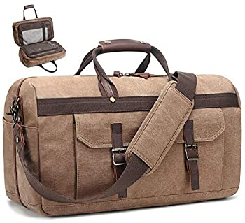 Duffle Bag for Men Waterproof Genuine Leather Canvas Travel Duffel Bags for Women Overnight Weekender Bag for Traveling Brown