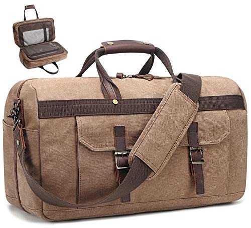 Duffle Bag for Men Waterproof Genuine Leather Canvas Travel Duffel Bags for Women Overnight Weekender Bag for Traveling, Brown