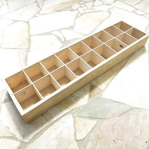 GeBOOTE24 Sortierkasten Holz Setzkasten Sortimentskasten Lagerkasten Tool Box 90x24x9cm