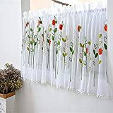 Zasjon cortinas de bistró, cortina bordada cortinas de paneles cortinas cortas habitacion cortina pequeña cortinas media altura cenefa cortina para salon dormitorio cocina ventana decoración , B