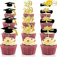 Topper de Magdalena de Graduación, Palillos de Sombrero de Graduación 2019 para Decoración de Mini Tarta, Alimentos y Aperitivos (Estilo Dorado y Negro, 72 Piezas)