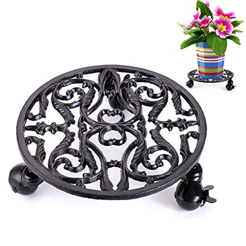 MDLUU Plant Stand 11 Inches, Plant Caddy with Wheels, Moveable Planter Trolley, Cast Iron Planter Dolly for Garden Vase, Heavy Duty Plant Pot