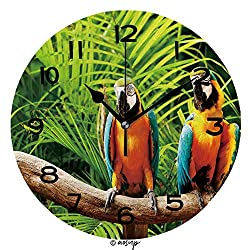 ALUONI Print Round Wall Clock, 10 Inch Colourful Parrot Bird Sitting On The Perch Quiet Desk Clock for Home,Office,School SW123894
