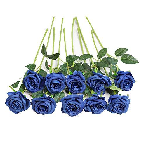JUSTOYOU 10 Pack Seide Künstliche Rose Blumen Brautstrauss Blumen (Blau)