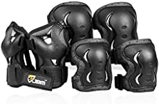 JBM Kids Knee Pads and Elbow Pads with Wrist Guards and Adjustable StrapsProtective Gear Set for Roller Skating Cycling BMX Bike Skateboard Inline Skatings Scooter Riding Sports