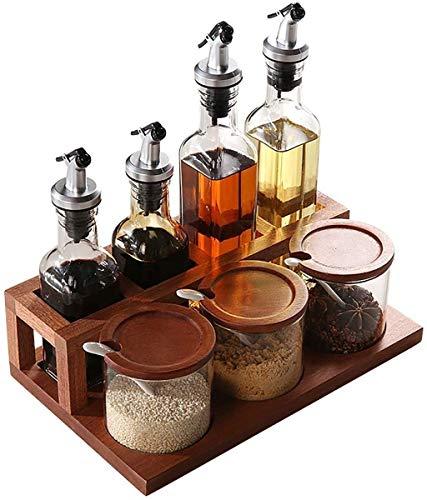 LT-TH Stainless 7-Piece Set,Glass Solid Seasoning Jar,Ebony Wood Spice Storage Organizer Rack,Vinegar & Oil Liquid Cruet,Spoon,for Kitchen Bathtub Accessories