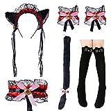 Cute Cat Cosplay Costume anime maid lolita Ears Headband Collar Bracelet Kitten Tail Socks Set(Black and Red)